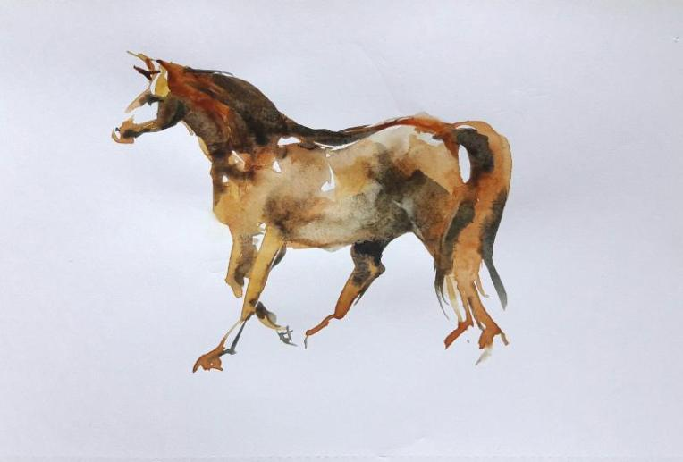 Watercolour drawing of trotting horse